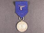 Služební medaile Luftwaffe 4.tř. za 4 roky služby, původní stuha