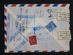 let. dopis do Jižní Ameriky z května 1948, vráceno zpět s přelepkami ÚŘEDNĚ OTEVŘENO + prezenční raz. POŠTOVNÍ ÚLOŽNA V BRNĚ, velmi zajimavé