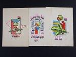 sestava 3 ručně kreslených pohlednic s voj. náměty z let 1938 - 39, prošlé