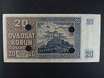 20 Ks 15.9.1939 serie Po 80, perf. SPECIMEN dole + 4x skartační otvor