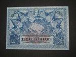 1000 K 1919 poukázka království českého, nevydaná, modrá, jednostranná