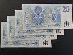 20 Kč 1994 s. A - 4 bankovky se stejným číslem, ale jinou sérií A 42 + A 46 + A 56 + A 62