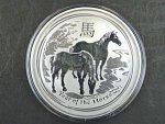 2 Dollars - 2 Oz (62,2700g)  Ag - Rok koně 2014, kvalita proof, Ag 999/1000, etue