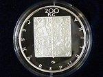 200 Kč 1998, 200. výročí F. Palackého, certifikát, bezvadná kvalita