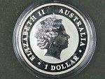 1 Dollars - 1 Oz (31,1050g)  Ag - Kookaburra 2011, kvalita proof, Ag 999/1000, etue