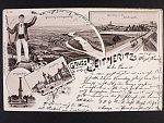 Litoměřice, jednobarevná čtyřokénková litografická pohlednice, prošlá 1900