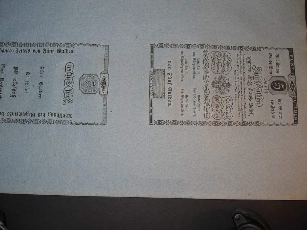 Cirkulářní nařízení z r. 1808 o vydání bankocedule 5 Gulden 1806 včetně formulářů 5 G 1806 rub + líc