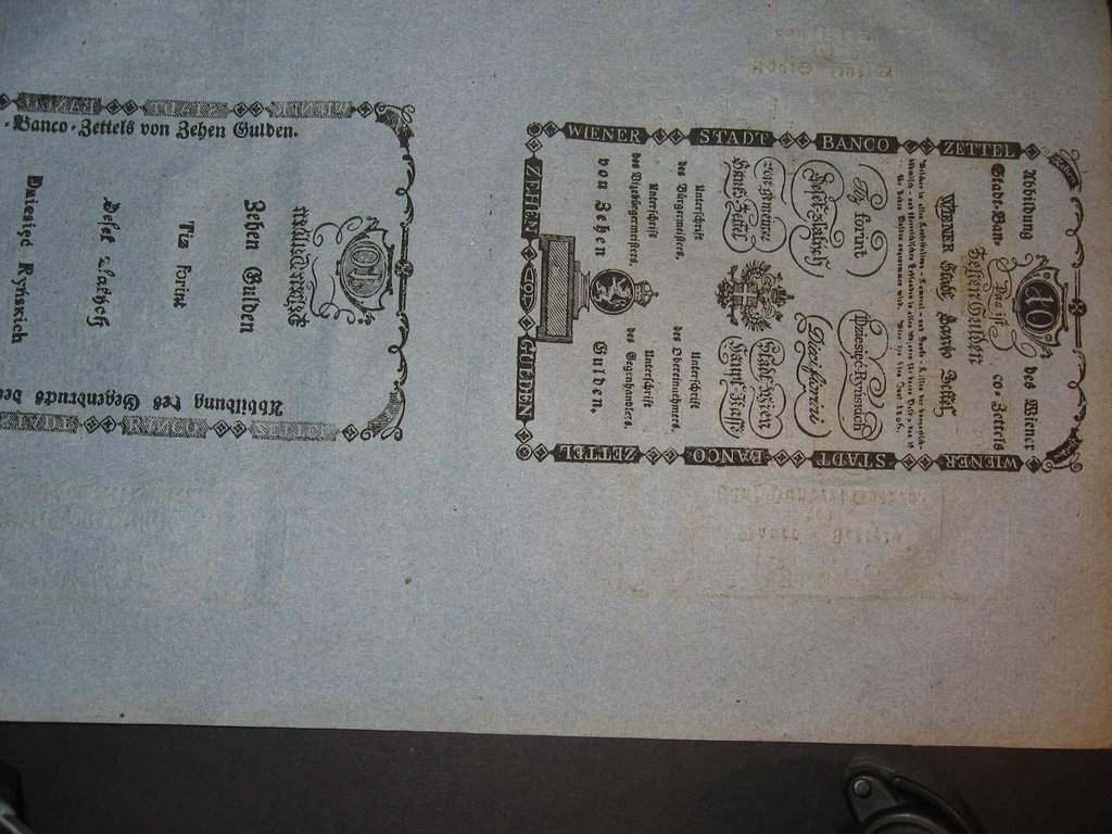 Cirkulářní nařízení z r. 1808 o vydání bankocedule 10 a 500 Gulden 1806 včetně formulářů 10 a 500 G 1806 rub + líc