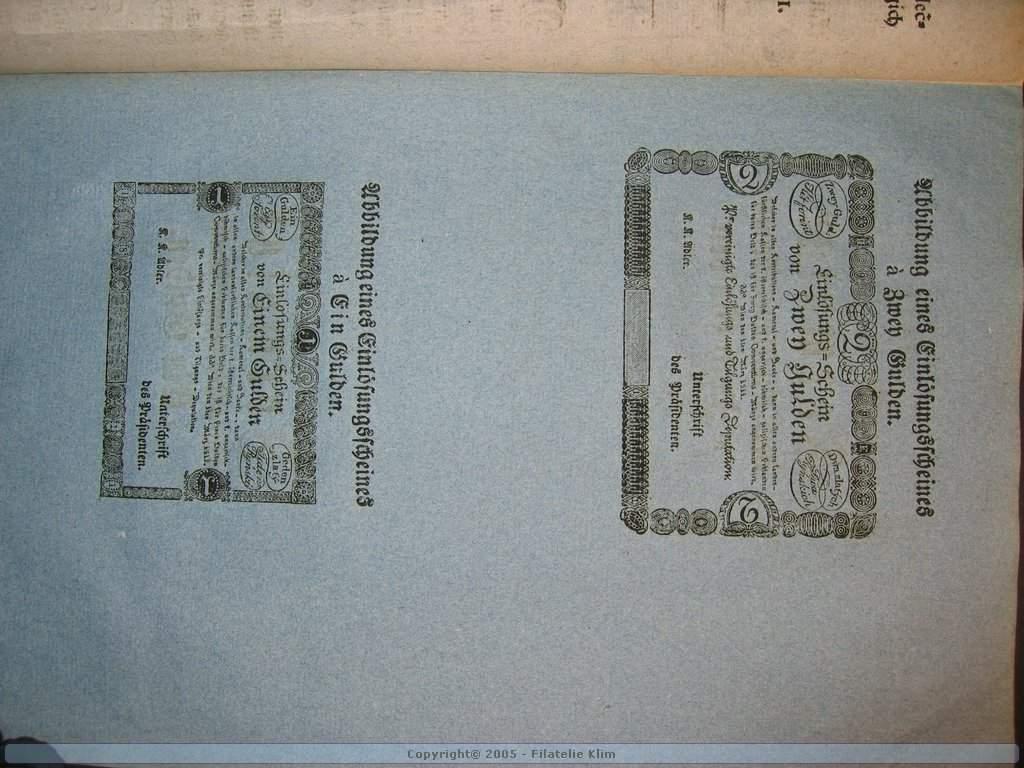 Cirkulářní nařízení z r. 1811 o vydání 1 a 2 Gulden 1811 včetně formulářů 1 a 2 G 1811