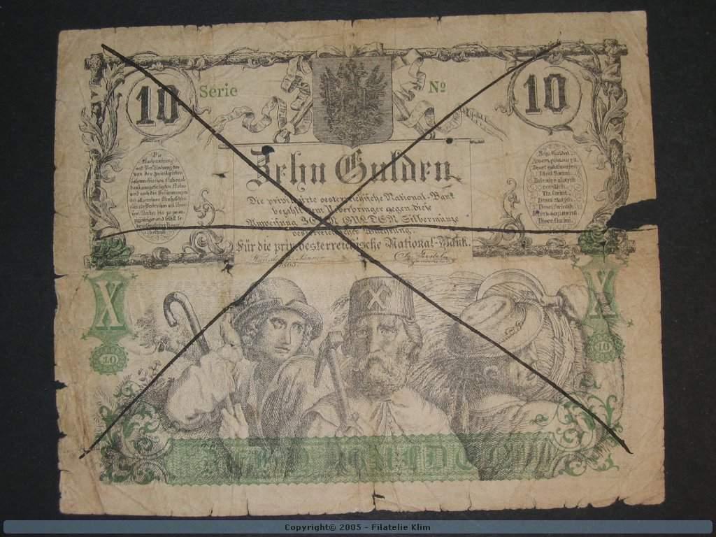 padělek, 10 Gulden 15.1.1863, dobový tištěný padělek bez čísla a série, Pi. A89, Pi.-Ri. 148