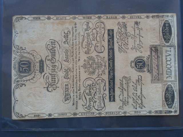 50 Gulden 1.6.1806, Pi.-Ri. 41, Pi. A41, zažloutlý papír, v této kvalitě velmi vzácný