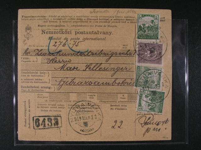 Uherska post. pr?vodka frank. na predni strane zn. P c. 29, P 31 (3x), na zadni strane 2x, dale pak spesnou ma?. zn. Mi. c. 180 a zn. post. sporitelny Mi. c. 179, pod. raz. NYITRAIVANKA 13.MAR.1919, zk. Pittermann, velmi zajimave, vzacne