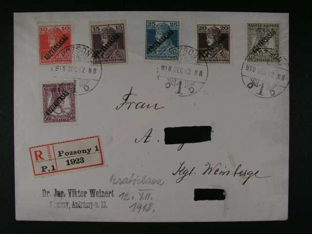 R-dopis frank. zn. Mi. c. 236 - 41, pod. raz. POZSONY 12.DEC.18, prich. raz., zajimave