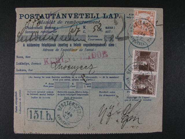 sestava 8 ks celistvosti s uherskymi zn. + 4 ks frank. zn. Hradcan s uherskymi raz. z územi Slovenska