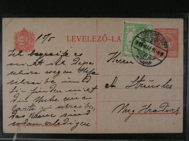 Uherska celina 10fil. dofrank. zn. c. 3 s pod. raz. NAGYTAPOLCSANY 16.MAJ 1919