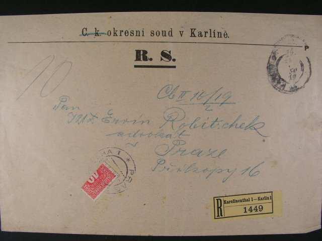 R-dopis vetsiho formatu, odeslany z Karlina dofrank. p?lenou zn. PDL 20 (Mi. P 53) s raz. PRAHA 23.1.19, zajimave