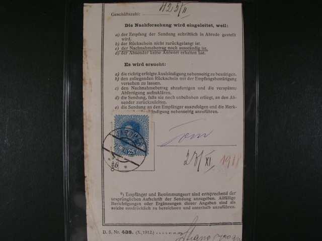zasilkovy list frank. zn. c. P 24 (Mi. c. 223), raz. JAROMER 21.11.18