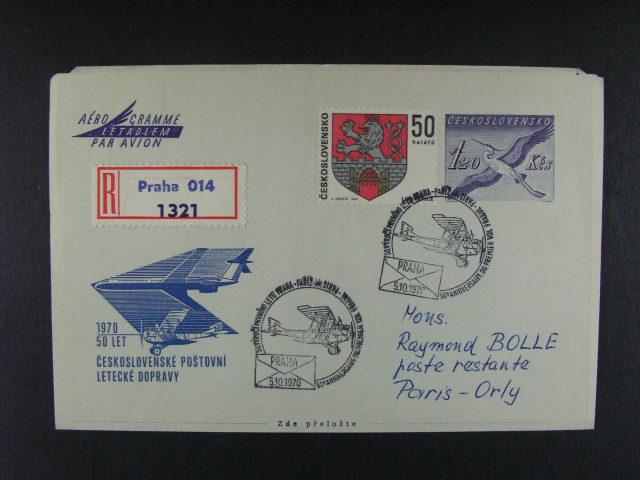 sestava 31 ks aerogramu z let 1967 - 74 (2x dofrank. na RECO), zaslane do Anglie, Francie, Kolumbie, Lybie, Tunisu ..., zajimave