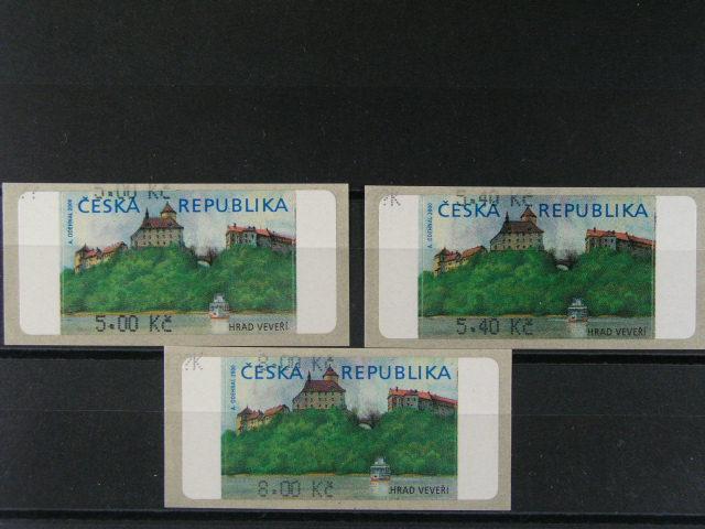 3 ks zn. AU 1 bez hv?zdi?ky s dvojitým tiskem hodnotového ozna?ení 5 K?, 5,40 K?, 8 K?, navíc v levém horním rohu otazník a písmeno K, kat. cena 2700 K?