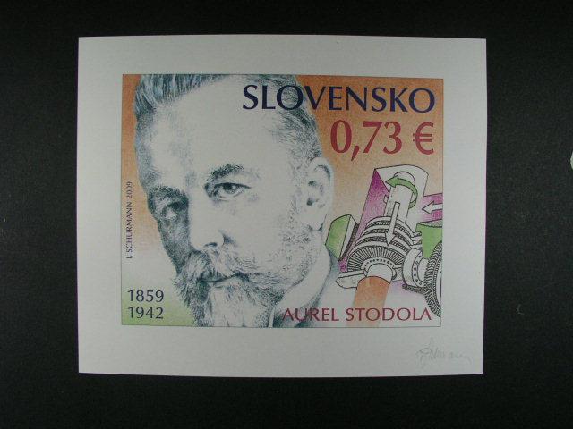 barevný návrh na zn. Aurel Svoboda 0,73 EUR, sign. I. Schurmann