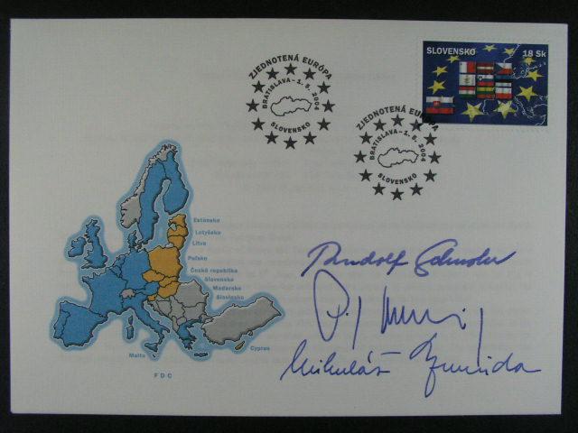 FDC se zn. ?. 325 s podpisem R. Šuster, P. Hrušovský, Mikuláš Dzurinda