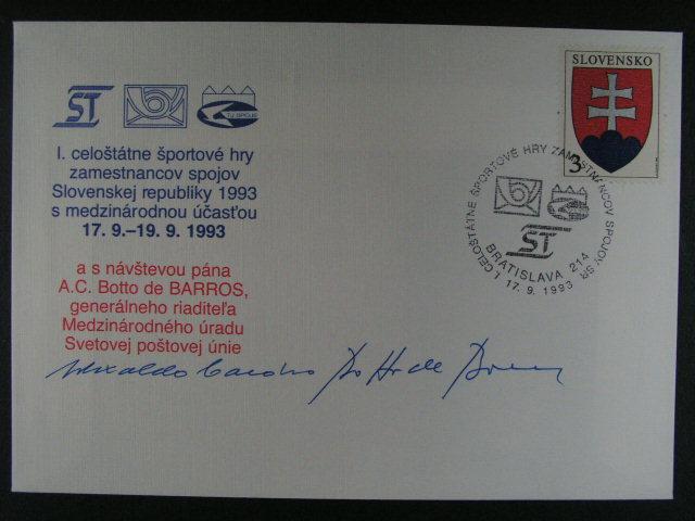 obálka s p?ítiskem I. celoštátné športové hry zamestnancov spojov ... s podpisem gen. riadit?la Medzinárodného úradu Svetovej pošt. unieA.C. Botto de Barros
