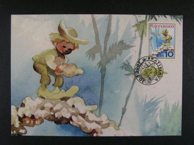 analogické pohlednice  zn. de?om - Janko Hrasko se silným posunem tisku textu na zadní stran? vlevo až do okraje