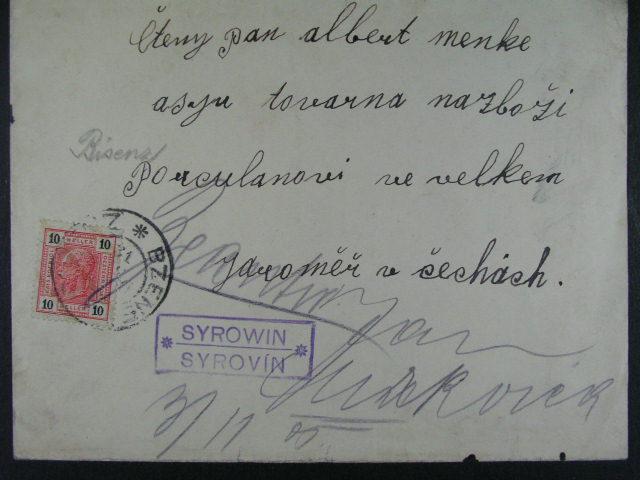 dva firemní dopisy z r. 1903 a 1905 do Jarom??e s raz. poštoven SYROVÍN, ŽAMBERK