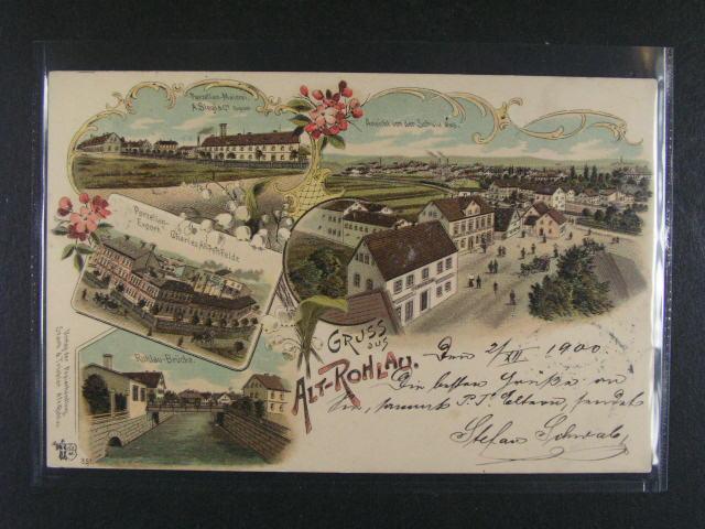 Alt Rohlau - bar. litograf. koláž, dl. adresa, použitá 1900, dobrá kvalita