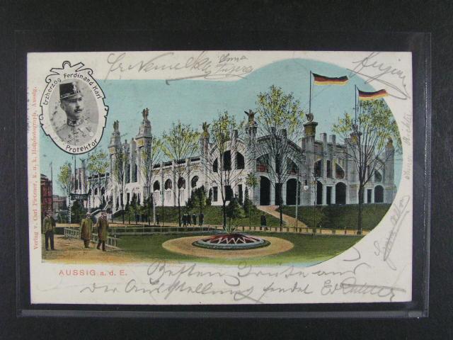 Aussig - Ústí nad Labem - bar. pohlednice, dl. adresa, použitá 1903