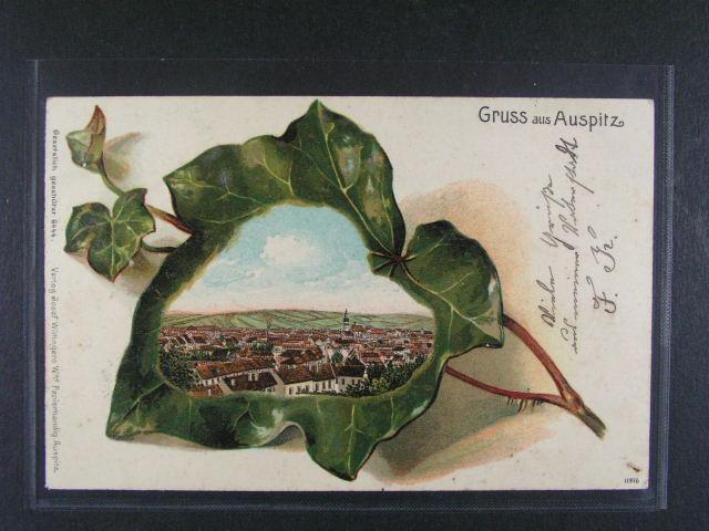 Auspitz (Hustope?e) - bar. litograf. koláž, dl. adresa, odlepená zn., použitá 1905, velmi dobrá kvalita