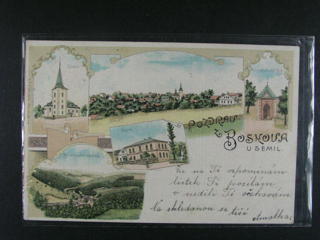 Boskov u Semil - bar. litograf. koláž, dl. adresa, použitá 1900