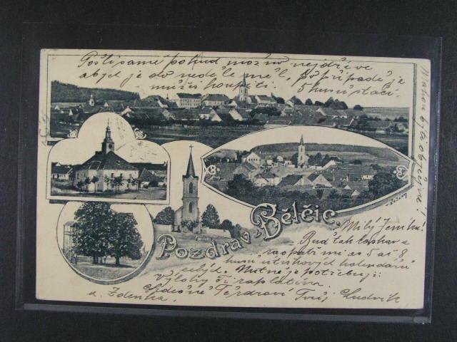 B?l?ice - jednobar. koláž, dl. adresa, 1900