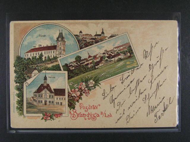 Brandýs nad Labem - bar. litograf. koláž, dl. adresa, použitá 1898, dobrá kvalita