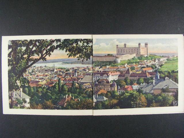 Bratislava - skládaná bar. ?ty?dílná pohlednice  použitá 1920
