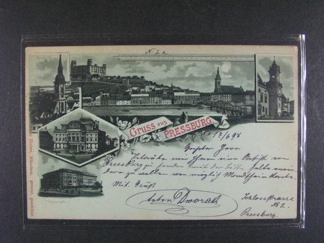 Bratislava - jednobar. litograf. koláž, dl. adresa, použitá 1898, velmi dobrá kvalita