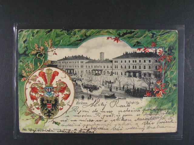 Brno nádraží - reliéfní bar. litograf. koláž, dl. adresa, použitá 1904, dobrá kvalita