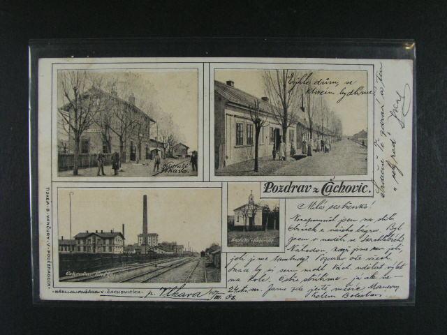 ?achovice - dvoubar. okénková pohlednice, dl. adresa, použitá 1906
