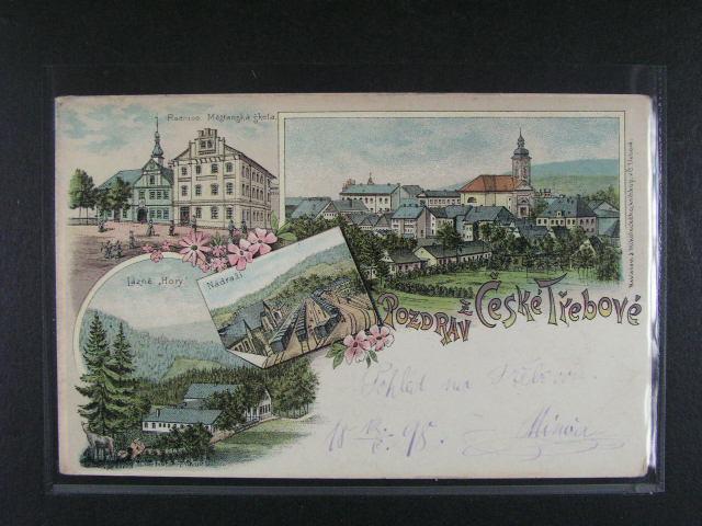?eská T?ebová - bar. litograf. koláž, dl. adresa, použitá 1898