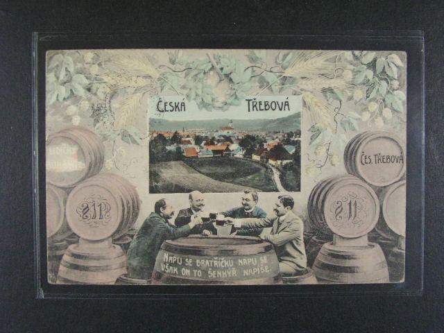 ?eská T?ebová - pijácká bar. pohlednice, použitá 1908, dobrá kvalita