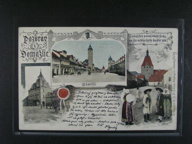 Domažlice - bar. koláž, dl. adresa, použitá 1901