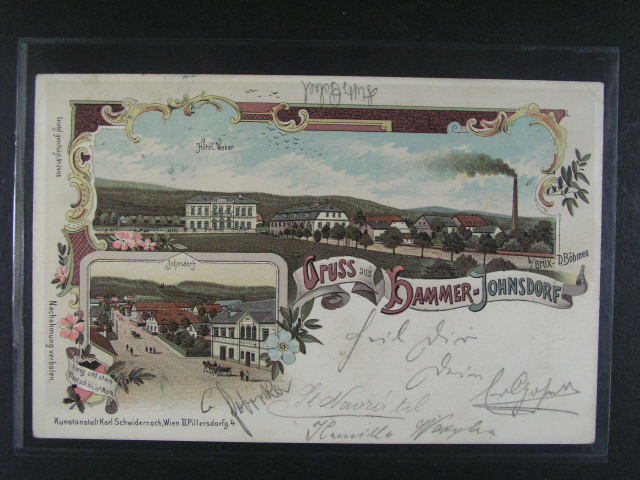 Hammer - Johnsdorf - bar. litograf. koláž, dl. adresa, Schwidernoch, použitá 1900, dobrá kvalita