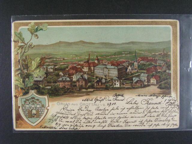 Hrádek nad Nisou - bar. reliéfní litograf. koláž, dl. adresa, použitá 1902