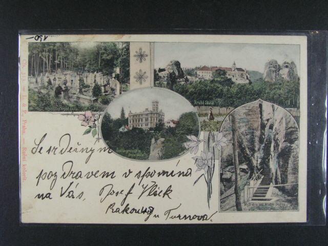 Hrubá Skála - bar. litograf. koláž, použitá 1901