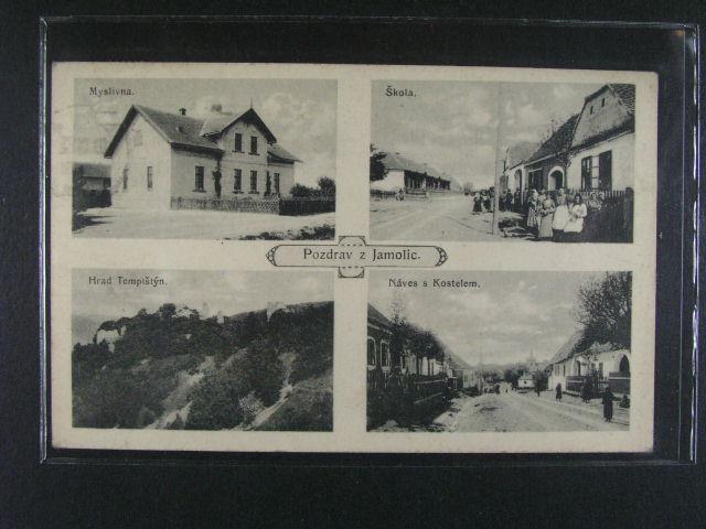 Jamolice - jednobar. okénková koláž, použitá 1922