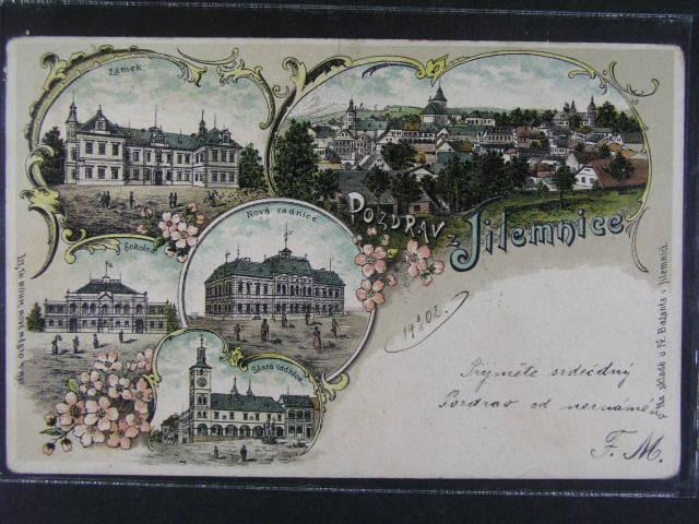 Jilemnice - barevná litograf. koláž, dlouhá adresa, použitá 1902