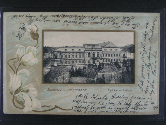 Josefov - reliéfní litograf. koláž, dl. adresa, použitá 1900
