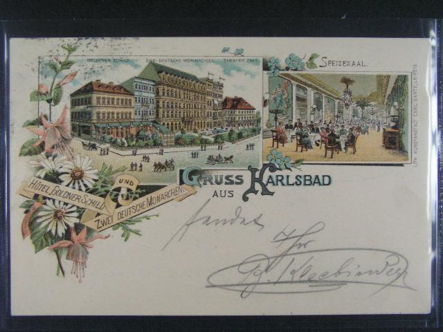 Karlovy Vary - bar. litograf. koláž, dl. adresa, použitá 1897, velmi dobrá kvalita