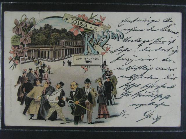 Karlovy Vary - bar. litograf. koláž, dl. adresa, použitá 1901, velmi dobrá kvalita