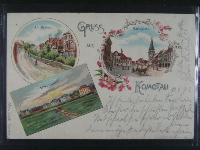 Komotau - bar. litograf. koláž, dl. adresa, použitá 1898, dobrá kvalita